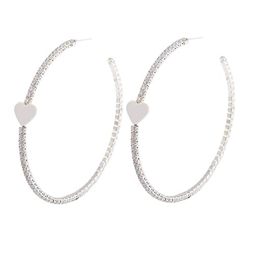 YILIBAO Hoop Earring Round Cubic Zirconia Star Heart and Butterfly for Women and Girls,925 Silver Needles (Heart White Gold)