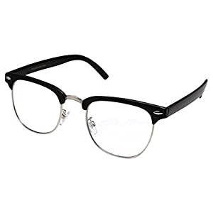grinderPUNCH - Mens Non Prescription Clear Lens Glasses Black/Silver