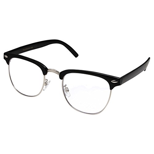 grinderPUNCH - Mens Non Prescription Clear Lens Glasses Black/Silver (Clear Glasses Clubmaster)