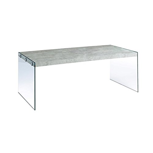 Monarch specialties  I 3230, Coffee Table, Tempered Glass, Grey Cement, 44''L