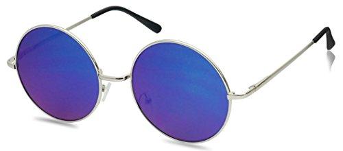 55mm Large Circular Retro Round Flat Mirrored Hippie Circle Sun Glasses (Silver / Midnight Green Lens, 55) (Glasses Circular)