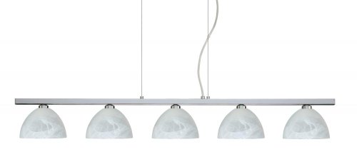 Besa Lighting 5LP-467952-PN 5X40W G9 Brella Pendant with Marble Glass, Polished Nickel Finish