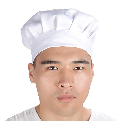 (Yevison Hotel Chef Hat Pleated Cap Round Hat Men's and Women's Cake Sweet Shop)