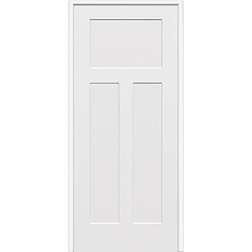 National Door Z020494L 20-Minute Fire Rated MDF Door, Primed, Left Hand In-swing, Craftsman 3-Panel, 32'' x 80'' by National Door Company