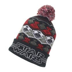 Star Wars Boys Little Destroyer Intarsia Knit Pom Winter Hat Black//Red One Size