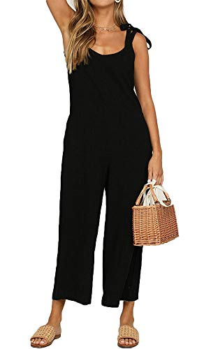 (TOP-MAX Jumpsuits for Women, Casual Cotton Jumpsuit - Long Suspender Twin Side Bib Wide Leg Overalls Pants with Pockets - Large Size)