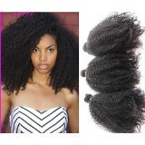 16'' Unprocessed Virgin Mongolian Afro Kinky Curly Human Hair Extensions for Black Women Natural Black 100g/one Bundle