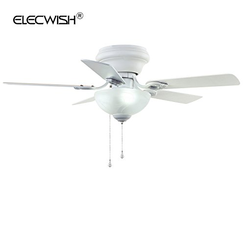 Elecwish 42-inch Traditional Indoor Ceiling Fan with 5 Blades Swirled Marble Glass Light Kit Multi-Speed Pull Chain Reversible Airflow Silicon Steel Motor UL Mounted Church White