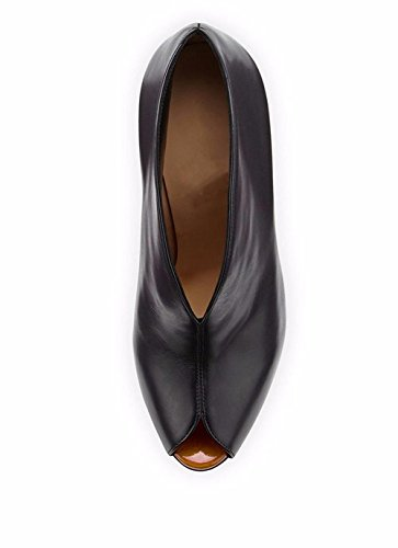 Femmes Talon Suede BLACK Noir Automne Cheville Hiver EUR37UK455 Élevé Bouche NVXIE Court Bottes Chaussures Mode Poisson Stiletto zxdqYvwZq