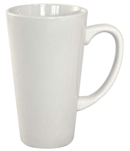 ITI Ceramic Tall Funnel Cup Coffee Mugs with Pan Scraper, 16 Ounce (6-Pack, Pure White) ()