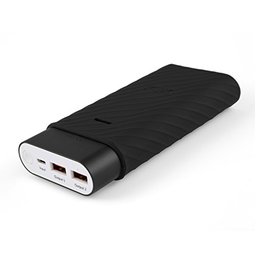 iKits 10200mAh Portable Charger, Panasonic Battery Fast Charge Power Bank, Aluminum 2 Port Smart Charge External Battery Pack for iPhone/iPad & Samsung and more Black (Silicone Case Included)