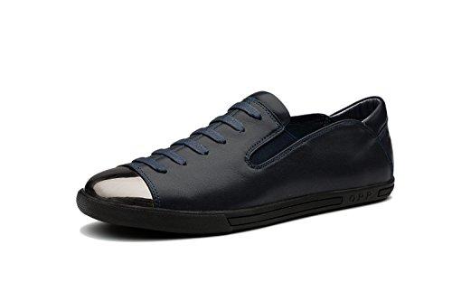 OPP Classic Scarpe da Uomo Vera Pelle Scarpe Blue-4
