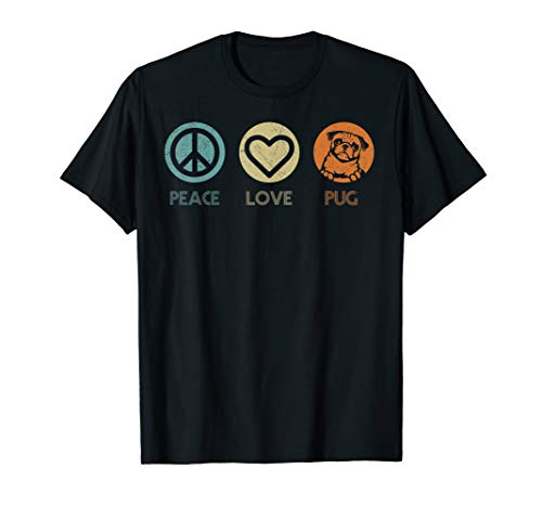 Retro Vintage Peace Love Pug Dog Tshirt Dog Lover Gifts