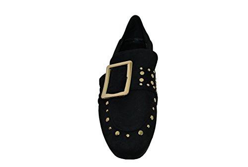 Fibbia SHOES ed Mocassino e con Elegante Fascia Comodo Oro Nero Donna con Dettaglio in di Applicazioni camoscio in FL Larga 7wqR5UdR