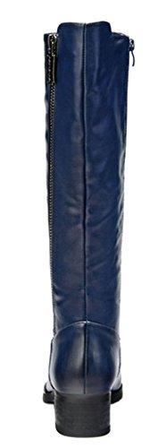 INDEX Zipper Long-Boots Genuine Leather Fashion For Women(5.5 B(M) US, DeepBlue)