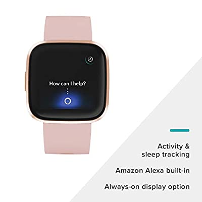 Fitbit Versa 2 Health and Fitness Smartwatch with Heart Rate, Music, Alexa Built-In, Sleep and Swim Tracking, Petal…