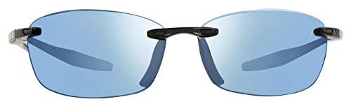 Revo Descend E RE 4060 01 BL Polarized Rectangular Sunglasses, Black, 64 ()