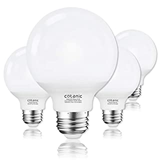 G25 LED Globe Light Bulbs,Cotanic 5W Vanity Light Bulb (60W Equivalent),Daylight 4000K,Non-dimmable Makeup Mirror Lights for Bedroom,Led Bathroom Light Bulbs,E26 Medium Screw Base,500lm,Pack of 4