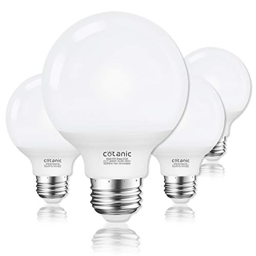 G25 LED Globe Light Bulbs,Cotanic 5W Vanity Light Bulb (60W Equivalent),Daylight 4000K,Non-dimmable -