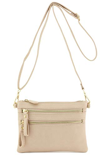 Multi Zipper Pocket Small Wristlet Crossbody Bag (Nude)