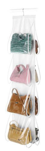 Whitmor 6044-14 White Crystal Collection Handbag File, Clear (Bag Storage compare prices)