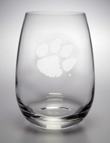 Clemson Tigers Deep Etched Stemless Red Wine Glass -