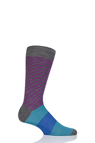 (Mens 1 Pair Richard James Kerr Diagonal Stripe with Block Foot Merino Wool Socks - Mid Gray 11-13)