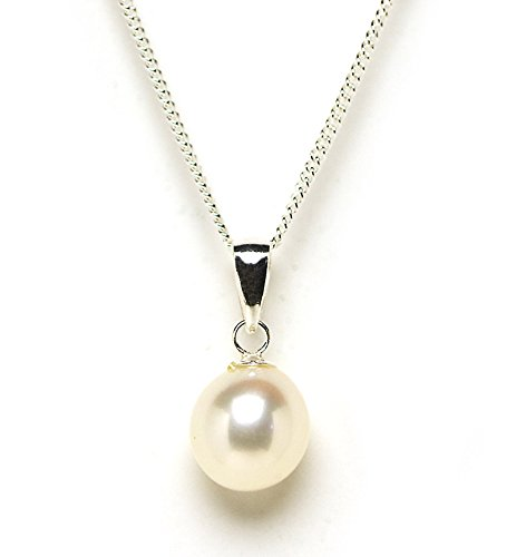 Exuisite Drop Shape Freshwater Cultured Pearl Pendant on Sterling Silver White