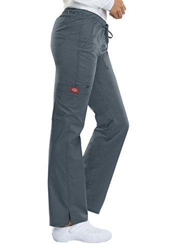 Dickies Gen Flex by Women's Low Rise Straight Leg Scrub Pant Small Light Pewter Low Rise Elastic Waist Scrub