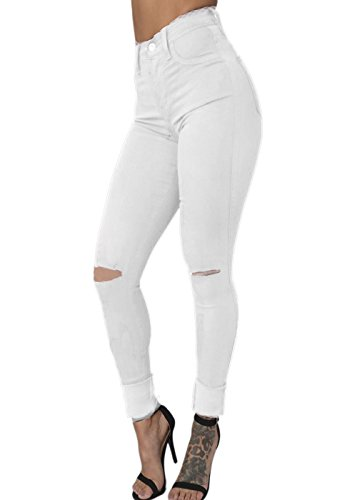 OLUOLIN Womens Waisted Colored Distressed product image
