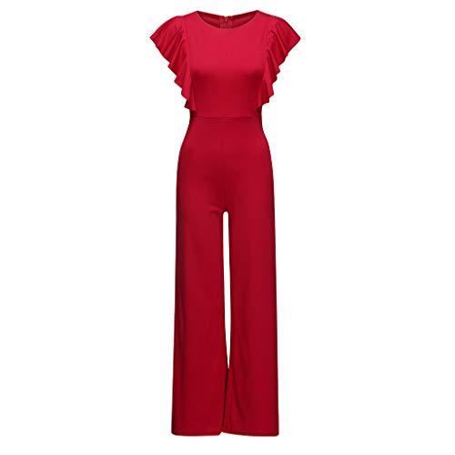 Yxiudeyyr Women Sexy Casual Sleeveless Ruffles Trim Wide Leg High Waist Long Jumpsuit Red