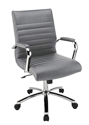 Realspace Modern Comfort Series Winsley Bonded Leather Mid-Back Chair, Gray