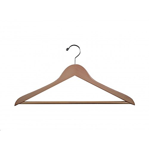 VidaNaticle Genesis flat suit hanger w/wooden bar, natural, 50 pcs/case (Genesis Flat Suit Hanger)