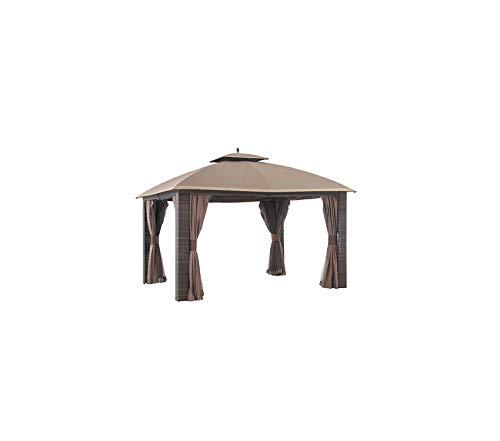Wood & Style Patio Outdoor Garden Premium 12' x 10' Sonoma Wicker Gazebo, Large, Brown/Gold Trim