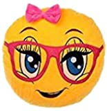 WEP 3 in 1 Cute Girl Emoji Pillow iPad Holder, Backpack, Travel Neck Pillow, Smiley Emoticon Cushion, Stuffed Soft Plush Toy