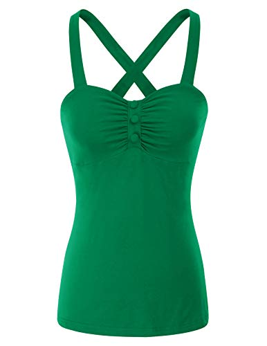 Belle Poque Women's Cute and Sexy Tank Top Sleeveless Tee Halter, Green Size - Green Halter