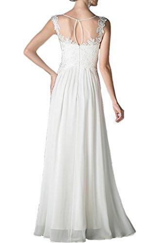 Chiffon Weiß Linie Spitze Rundkragen Promkleid Brautjungfernkleid Ivydressing Beliebt lang Damen Festkleid Abendkleid A WXnOTaq