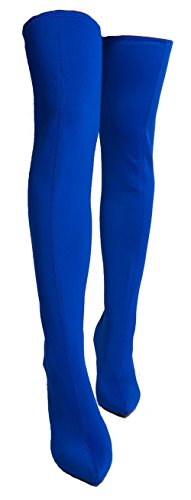 Anne Michelle Dedicate 57M Womens Stretch Over The Knee Pointy Toe Stiletto Blue Lycra 6.5 -