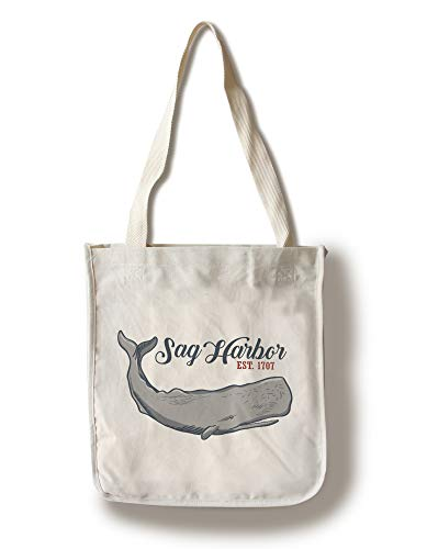 Lantern Press Sag Harbor, New York - Red Text Version - Sperm Whale (100% Cotton Tote Bag - Reusable)