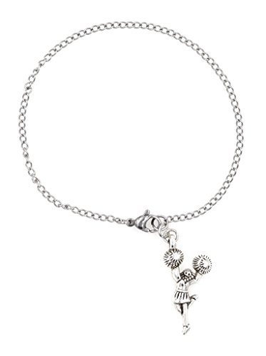 "7.5"" - 9.5"" Stainless Steel Ankle Bracelet with Alloy Cheerleader (AB 52H) - Dallas Cowboy Cheerleader Costumes Kids"