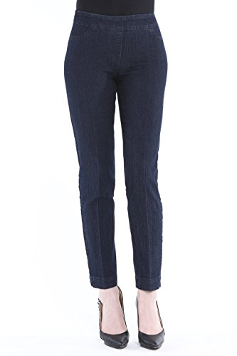 (Vincenté Women's Super Slimming Perfect Comfort Fit Pull On Ankle Leg Pant with Contoured Waistband and Tummy Control, Color Denim Size)