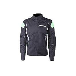 KAWASAKI GENUINE ACCESSORIES Men's Textile Jacket (Black/Green, 3XL)