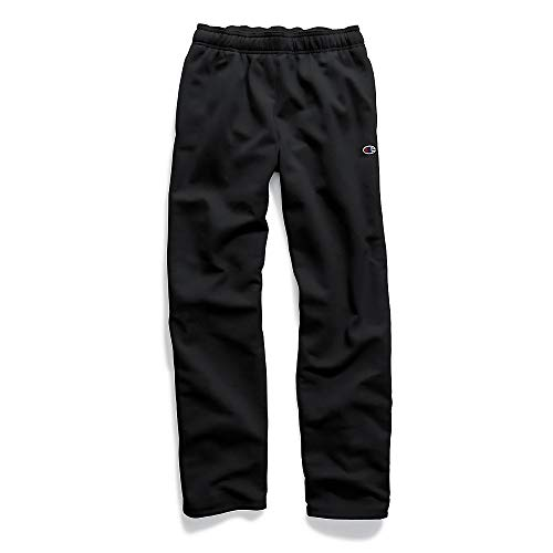 - Champion Men's Powerblend Open Bottom Fleece Pant, Black, XL