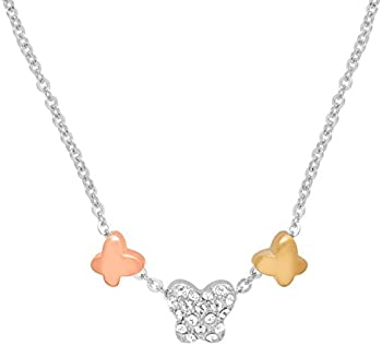 Crystaluxe Butterfly Trio Necklace with Swarovski Crystals