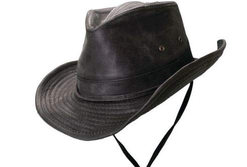 Dorfman Pacific Weathered Outback Hat with Chin Cord (Medium, Black)