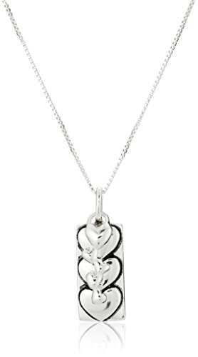 "Sterling Silver ""I Love You More"" Two-Charm Reversible Necklace, 18"""