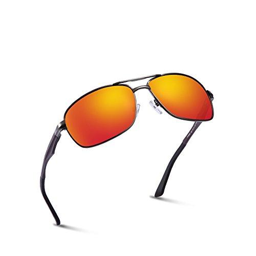 2020VentiVenti Premium Military Style Sunglasses for Men Polarized Black Red Glasses Shade Aluminum Frames Rectangular Lens Double Bridge 60mm for Oversized Size PT0882C2