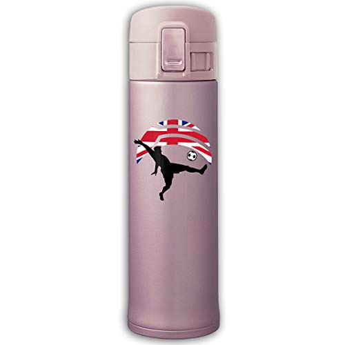 500ml Stainless Steel Vacuum Insulation Travel Mug Double Wall Soccer Player Kicking Ball England Flag Tea Kettle