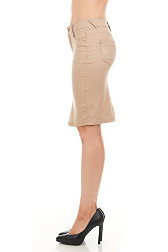 FGR Girl's Stertchy Cotton 5 Pocket Color Denim Skirt Khaki Size 12 by FGR (Image #7)