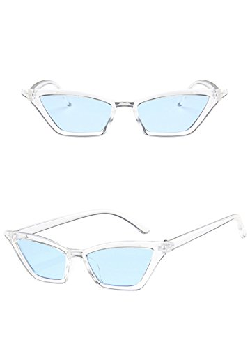 Thin Small Frame Skinny Cat Eye Retro Vintage Sunglasses for Women Colorful Mini Narrow Square Cateye Sunglasses by W&Y YING (blue)